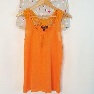 Cotton Candy Butterfly Crochet Orange Tank Top L